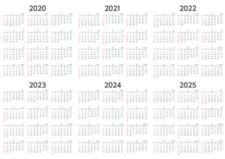 A six-year calendar starting on Sunday, 2020 to 2025 Vecteurs
