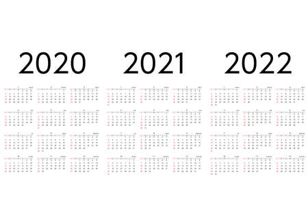 A three-year calendar for 2020 to 2022, starting on Sunday