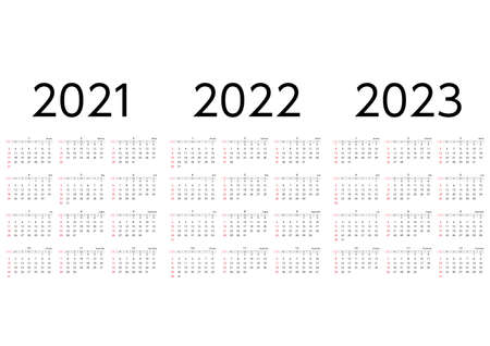 A three-year calendar for 2021 to 2023, starting on Sunday