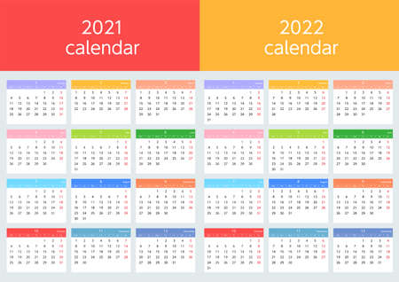 Colorful calendars starting on Sundays in 2021 and 2022 Illustration