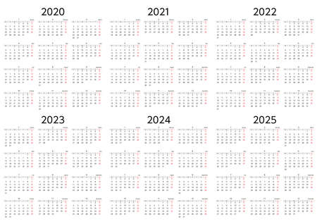 A six-year calendar starting on Sunday, 2020 to 2025