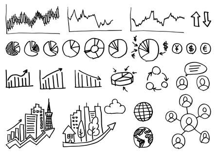 Handwriting Icon Set - Business Graph