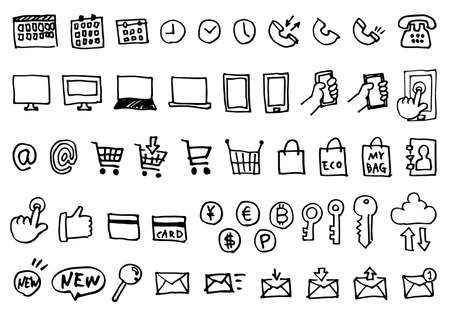 Handwriting Icon Set - Smartphone and Computer