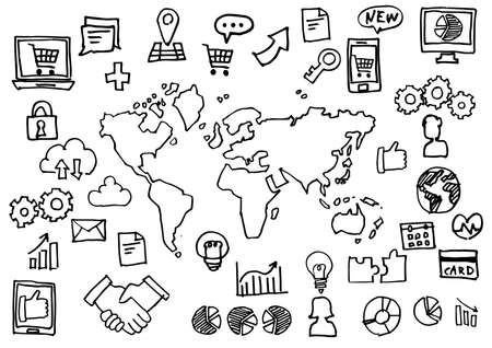Handwriting Icon Set - World Map and Internet Business