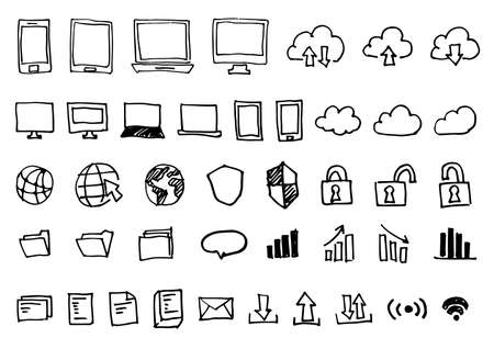 Handwritten Icons Set - Computer and Smartphone