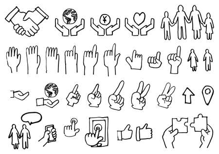 Handwriting Icon Set - Hands and Family