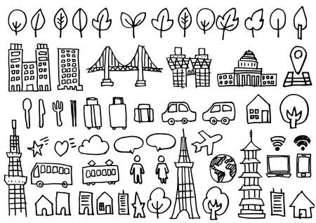 Hand drawn icon set - buildings and vehicles