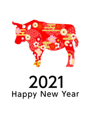 2021 Year of the Ox Greeting Cards - red Japanese Cattle 向量圖像