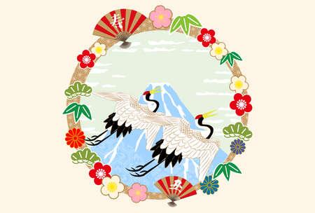 2021 New Year's card - blue Fuji Ukiyoe style Mt. Fuji and crane.The characters on the artwork mean
