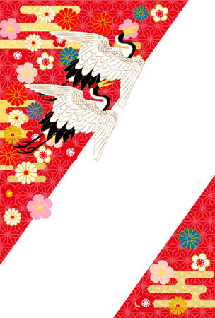 Red New Year's card with a Japanese crane. Иллюстрация