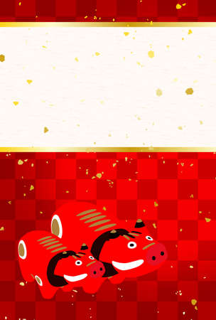 2021 Year of the Ox Greeting Cards.Japanese style pattern background.