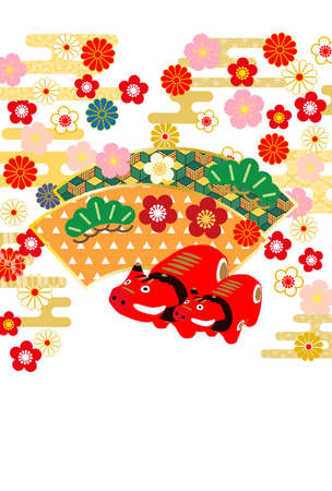"""Year of the Ox Greeting Cards.The characters on the artwork mean """"Happy New Year"""" in Japanese."""