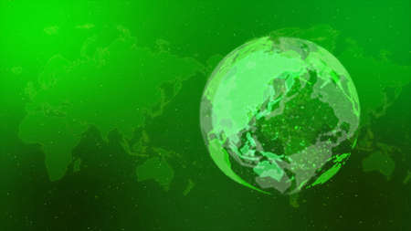 Digital Network Image Background In green.