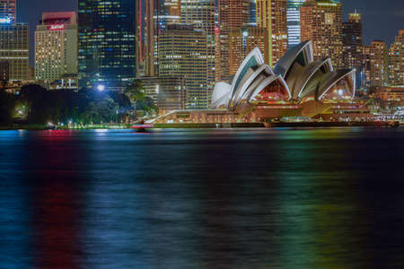 24 Aug 2016 Long exposure Sydney Opera House at night from Cremorne Point,Sydney Australia Editorial
