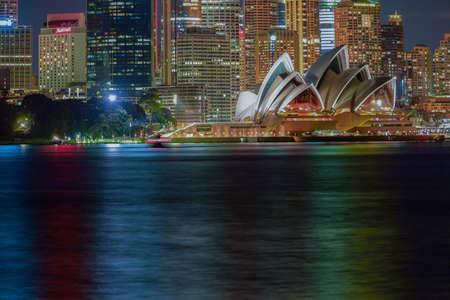 sydney opera house: 24 Aug 2016 Long exposure Sydney Opera House at night from Cremorne Point,Sydney Australia Editorial