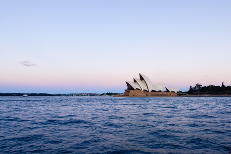 jorn: Sydney Opera House on pink and blue sky. 29 AUG 2016  It was designed by Danish architect Jorn Utzon . Editorial