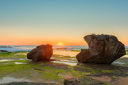 nsw: Sunrise on the beach at Narrabeen NSW Australia