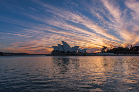 Sydney Opera House at sunrise in Sydney Australia.NOV 11,2016 The Sydney Opera House is a famous arts center.Over 10 millions tourists visit Sydney a year.