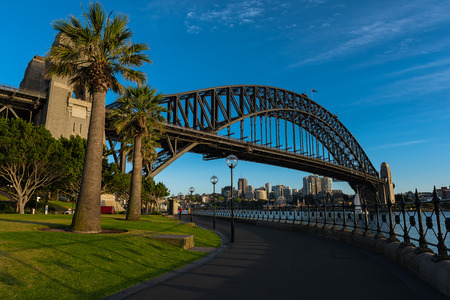 sydney harbour bridge: Sydney Harbour Bridge Sydney Australia.NOV 09,2016 The Sydney Harbour Bridge is a steel through arch bridge across Sydney Harbour that carries rail, vehicular, bicycle, and pedestrian traffic between the Sydney central business district (CBD) and the Nort Editorial