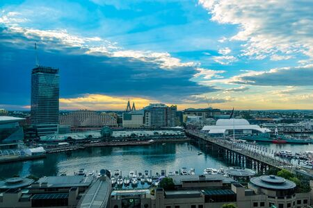 Darling Harbour Sydney Australia at sunset.DEC 30,2016 Darling Harbour is a harbour adjacent to the city centre of Sydney, New South Wales, Australia. Editorial