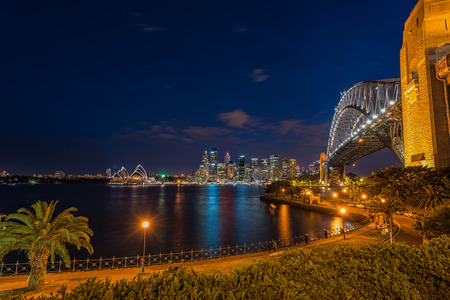 Sydney Harbour at night viewed from Milsons Point in North Sydney Australia. FEB 15,2017 Sydney Harbour is a beautiful meandering waterway, famous around the world. Editorial