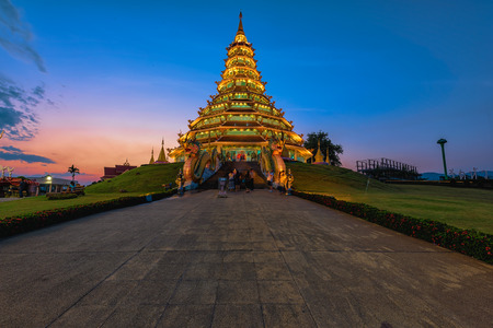 wordwide: Wat Huai Pla Kung (Temple) in Chiang Rai,Thailand.APR 20,2017 Wat Huai Pla Kung temple the pagoda in Chinese style in Chiangrai province of Thailand.well known wordwide.