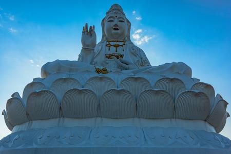 pla: Guanyin Of Wat Huai Pla Kung (Temple) in Chiang Rai,Thailand. Stock Photo