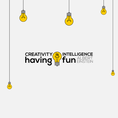 creativity is intelligence having fun wall art, Albert Einstein Quotes, creativity is intelligence having fun, creativity Quote vector illustration, creativity Quote typography.