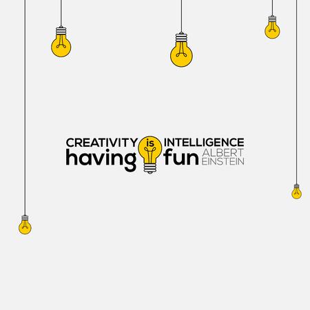 creativiteit is intelligentie met plezier kunst aan de muur, citaten van Albert Einstein, creativiteit is intelligentie met plezier, creativiteit citaat vectorillustratie, creativiteit citeer typografie. Vector Illustratie