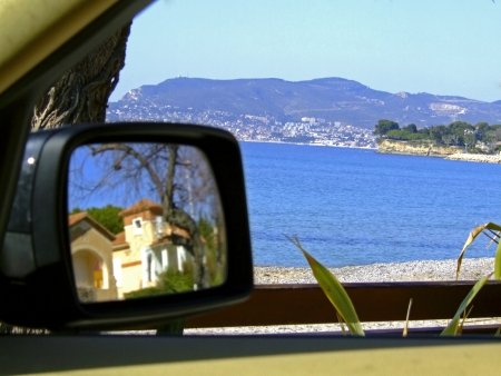 mirror on the water: Overlooking French Riviera from the car seat
