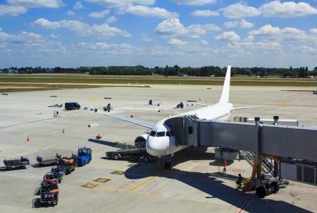 flight mode: Airplane stationary at Boryspil airport, Kiev Stock Photo