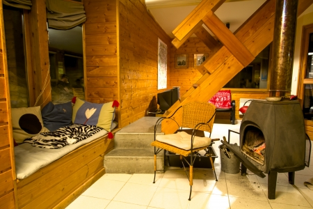 The interior design of the french ski chalet in Alps