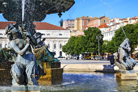 Fountain at Rossio square in central Lisbon photo