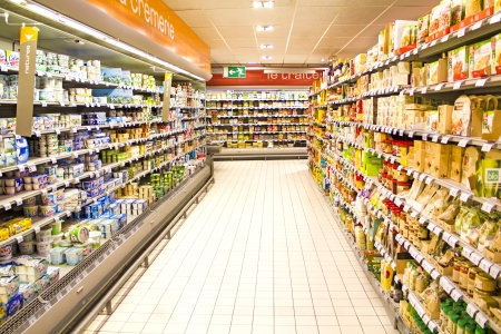 supermarket shelves: Inside of the french supermarket