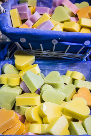 Heart-shaped soap in the soap shop in Marseille photo
