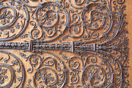 wrought iron: Element of the etrance door of the Notre-Dame Stock Photo