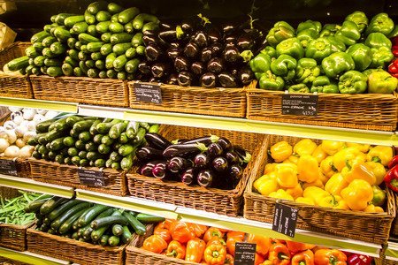 Vegetable section in the big city supermarket