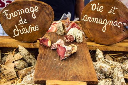 butcher's shop: French sausages at village market Stock Photo
