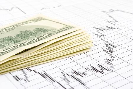 correlation: Pi� fatture, dollari, close-up, sulla grafica di sfondo in aumento, su supporto cartaceo.