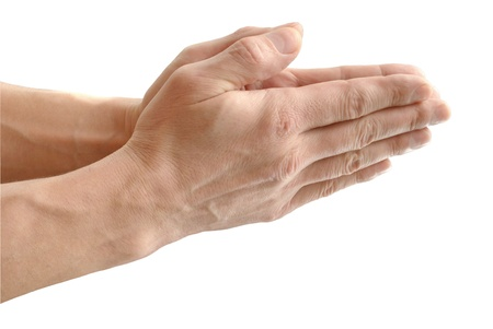 glorification: The Built palm, in gesture of the prayer, on white background close-up, isolated.