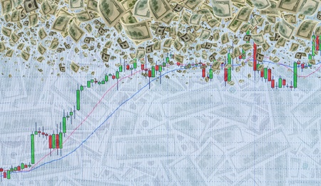 embedding: Graph of the exchange transactions on background of the cash.