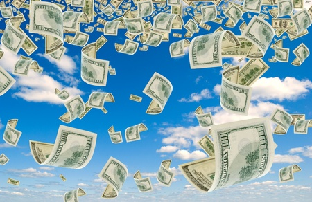 bribes: Many cash advantage of $ 100, falling from the sky. Stock Photo