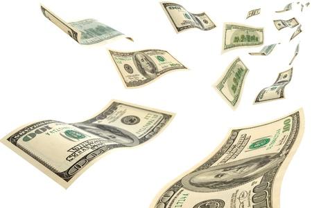 dinero volando: El dinero est� volando en el aire.