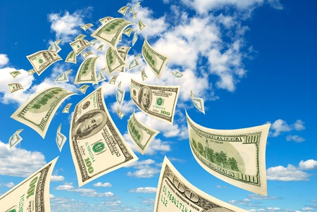 depository: Collage - hundred-dollar bills floating in the sky