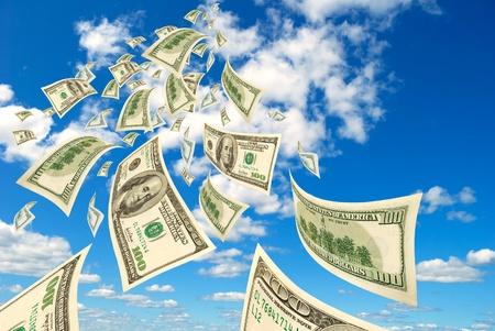 Collage - honderd-dollarbiljetten zwevend in de lucht Stockfoto