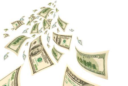 transfer pricing: Deformed hundred dollar bills on white