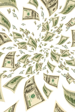 transfer pricing: Hundred-dollar bills on a white background, vertical