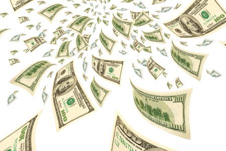 Honderd-dollarbiljetten op een witte achtergrond