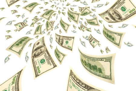 transfer pricing: Hundred-dollar bills on a white background