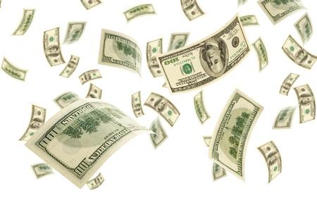 transfer pricing: Deformed bills on white background.